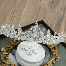 Baroque Luxury Rhinestone Beads Bridal Tiara Crown Silver Crystal Diadem Veil Tiaras Wedding Hair Accessories Headpieces M30 цена 2017