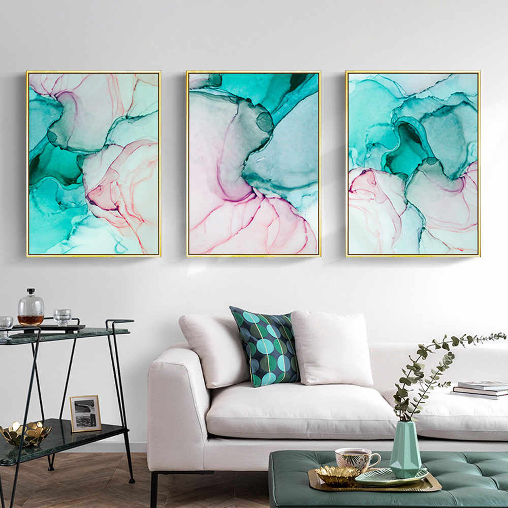Green Pink Marble Canvas Painting Wall Art Pop Art Modern Fashion Wall Poster Alcohol Ink Abstract Painting Pictures Living Room