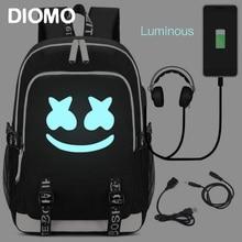 c8ab0d61c DIMOM Marshmello Luminous USB Laptop Backpacks 2019 American Mystery DJ  School Bag for Girls Boys Teenagers