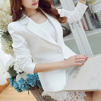 Ladies Blazer Women White Blue Green Suits &blazer Grey Office Casual Female 2018 Fashion Set Clothes Streetwear One Button Sale