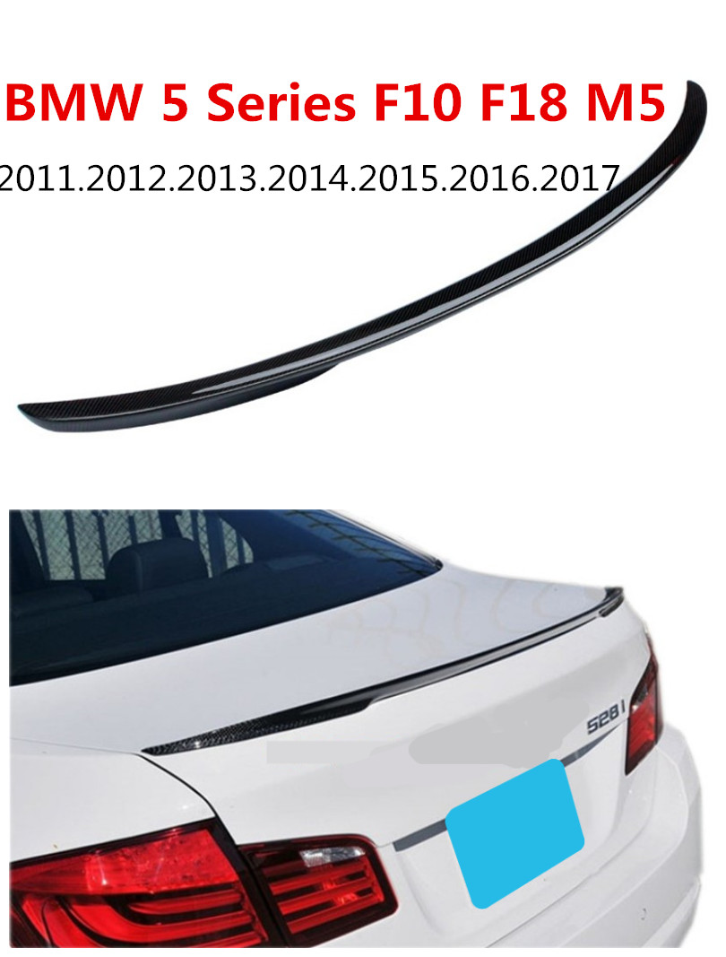 HLONGQT Carbon Fiber Spoiler For BMW 5 Series F10 F18 M5 2011-2017 High Quality Car Rear Wing Spoilers Auto Accessories