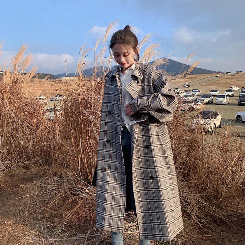 British style Plaid Shirt Female 2019 Spring Double-breasted Long   Trench   Coats Autumn With belt vintage Women's Overcoats V737
