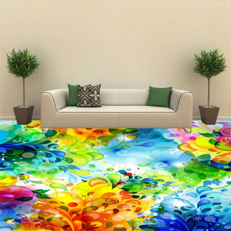 купить Free Shipping custom Colorful petals 3D floor painting Self-adhesive bathroom bedroom hotel KTV flooring mural wallpaper по цене 6953.13 рублей