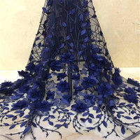 Party Fashion 3D Embroidered Navy Blue African Fabric Lace High Quality Beaded Lace Fabric Net 2018 French Lace Fabric H1354
