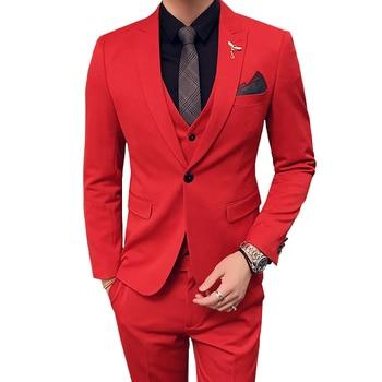 Pure color men suit three piece set slim design men suit jacket with pants and vest Asian size S M L XL XXL XXXL