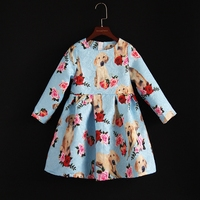 Autumn kids clothing Women fashion dress mom baby girl dogs infant skirt family look outfit matching mother and daughter clothes