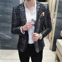 2018 Formal Men Fashion Blazer Jacket Plus Size M 3XL Slim Fit Suit Blazer Brand Design Male Casual Suit