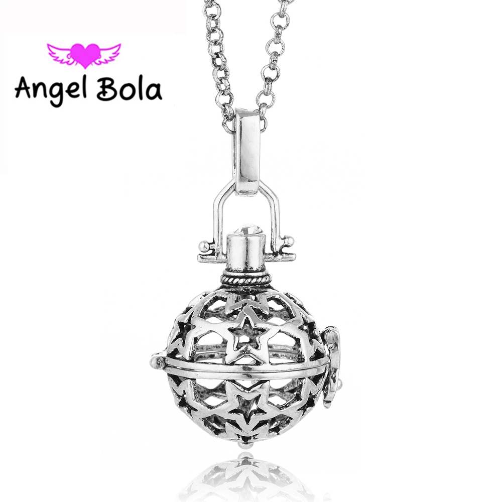 Angel Bola 10pcs/Wholesale Star Pattern Engelsrufer Cage Pendant Sound Bell Ball Essential oil Necklace Jewlry L018