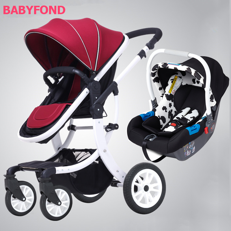 EU design white frame 3 in 1 baby strollers four wheels folding baby carriage gifts AMILE brand baby car travel baby car seat original hot mum baby strollers 2 in 1 bb car folding light baby carriage six free gifts send rain cover