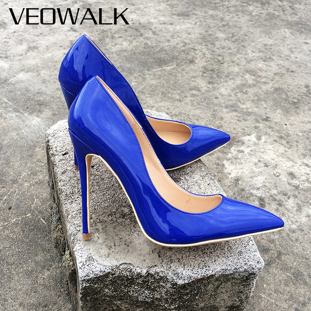 Veowalk Royal Blue Patent Leather Women Classic Slip on Pumps Ladies  Pointed Toe Stilettos Extreme High Heels Customized Accept