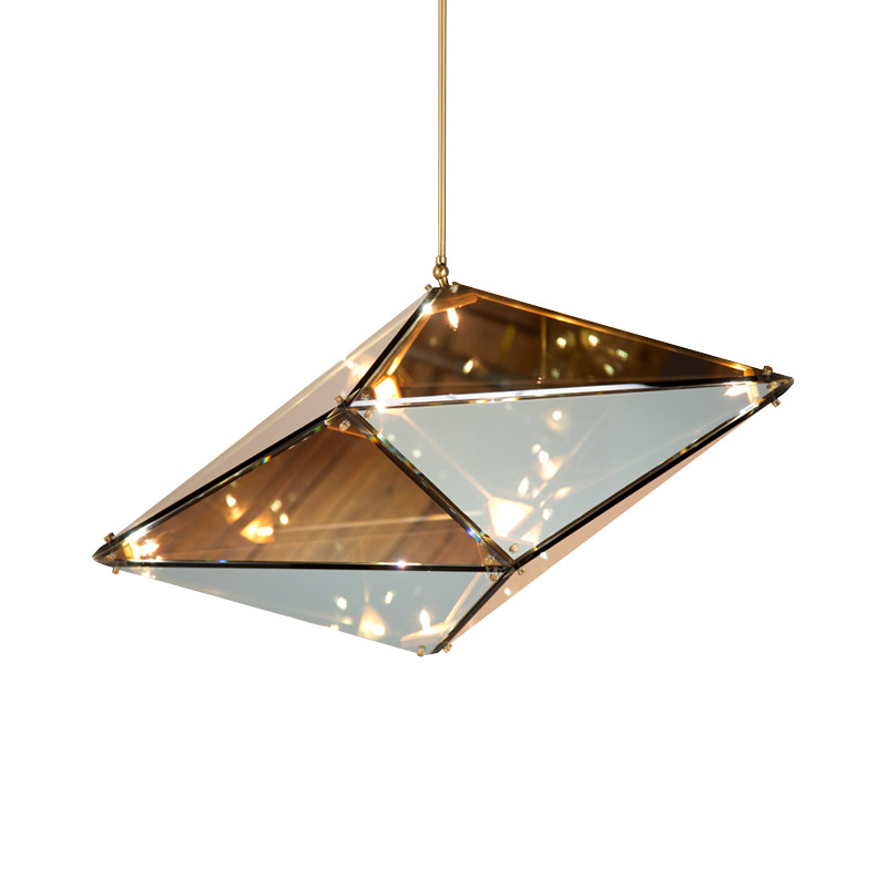 Maxhedron Europe Minimalism creative glass dimond shape pendent lamps G4 90-265v art-decor drop lights for dining room A190 postmodern minimalist fans glass art decor chandeliers g9 6 9 heads creative pendent lights living rooms dining room bedroom