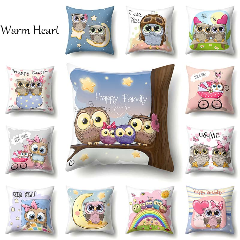 Cartoon Cushion Cover Owl Family Print Pillow Case Bird Polyester Cotton 45*45 CM Throw Pillow Cover Decoration For Home Office(China)