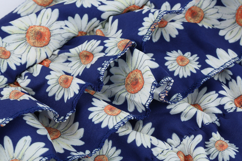 Blue Color Hot Cute Kids Baby Girls Flower Print Fold Sleevesless Princess Dresses Outfits High Quality Dropshipping AG30 17