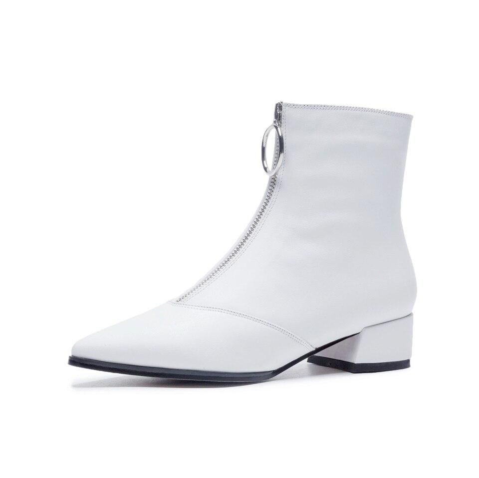 Short Femme Mode En Chaussures white Chaud Cheville Black Femmes 1 Cuir Hiver Pour back Véritable 1 Automne Plush Bottes AqxpSYOP