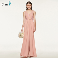 Dressv Pink Bridesmaid Dress Straps Sheath Sleeveless Beading Bow Lace Split Front Backless Wedding Party Bridesmaid Dress