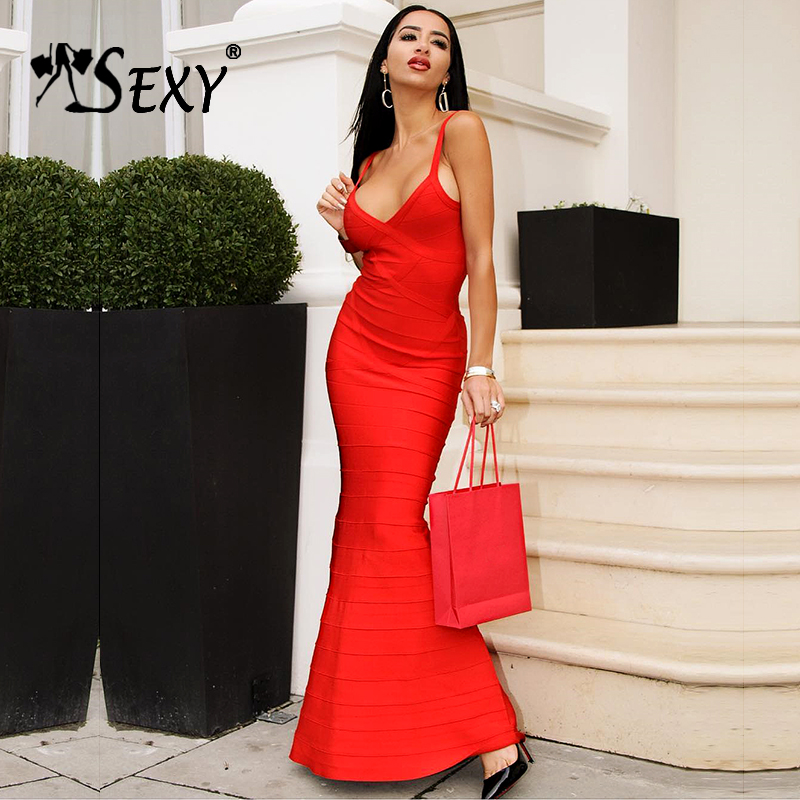 Gosexy 2017 New Summer Women Red Black V Neck Sleeveless Backless Fishtail Long Wedding Evening Party