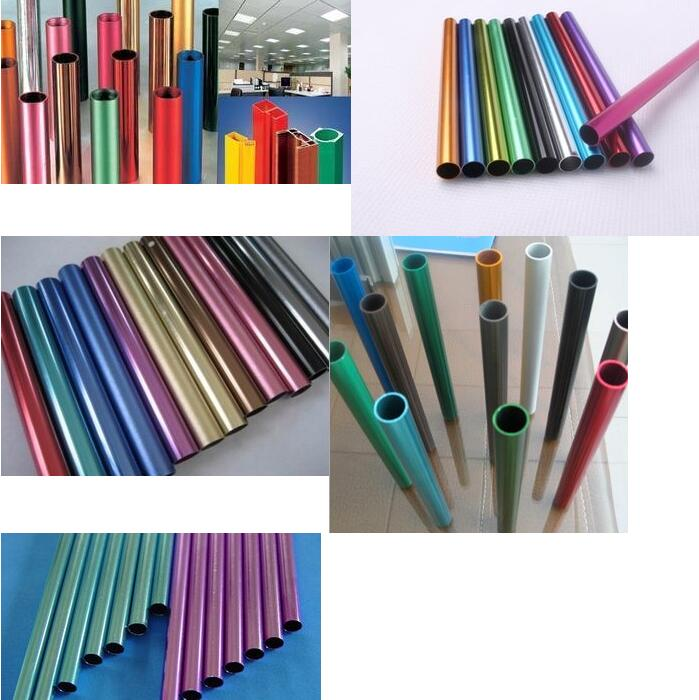 6061 6063 Aluminium Colorful  Tube Colored Sandblasting Anodized Aluminium Pipe CUSTOMIZED