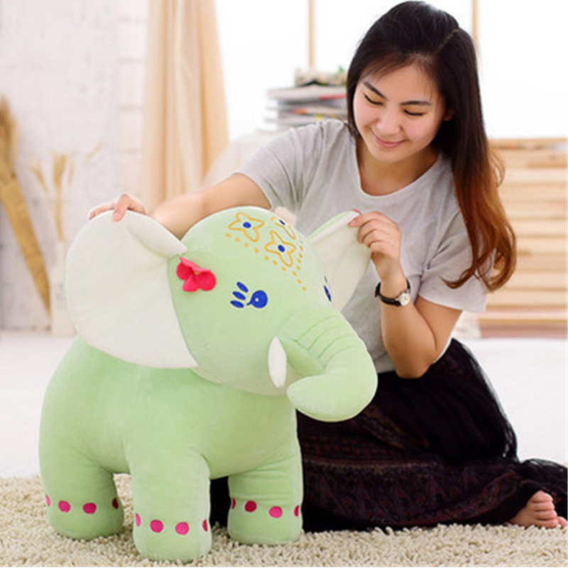 Fancytrader 31'' / 80cm Giant Plush Thai Lucky Elephant Toy Stuffed Colorful Soft Big Animal Elephant Doll Gift for Children fancytrader 2015 new 31 80cm giant stuffed plush lavender purple hippo toy nice gift for kids free shipping ft50367