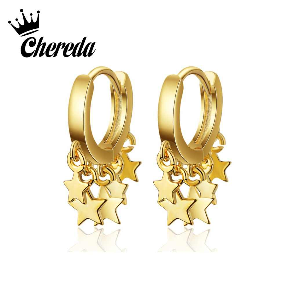Chereda Boho Fashion Gold Drop Earrings For Women Vintage Star Earrings Jewelry Wedding Gifts Birthday Party Bijoux