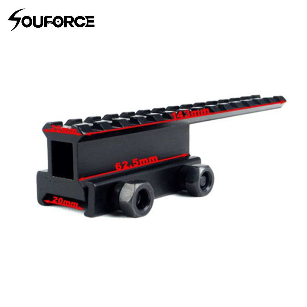 Tactical Extened alta Riser Base plana 145mm longitud para 20mm picatinny/Weaver Rail Mount 14 ranuras envío libre