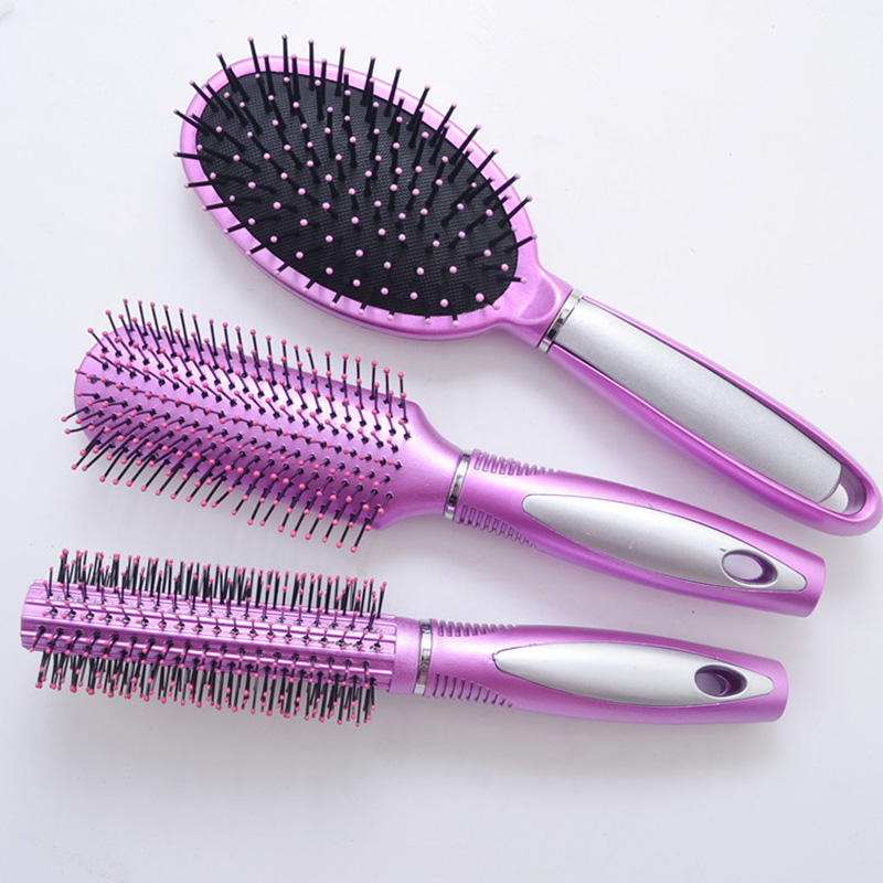 1set Salon Detangling Hair Brush Set Tangle Free Cushion Massage Comb Paddle Brush Soft Bristles Combs