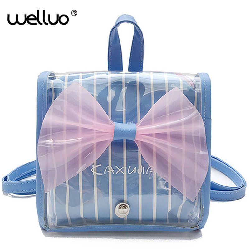 Wellvo Kids Cute Bow Mini Backpack for Teenage Girls Small PVC Shoulder Bags Simple Lovely Preppy Style Kawai Rucksack XA312WB