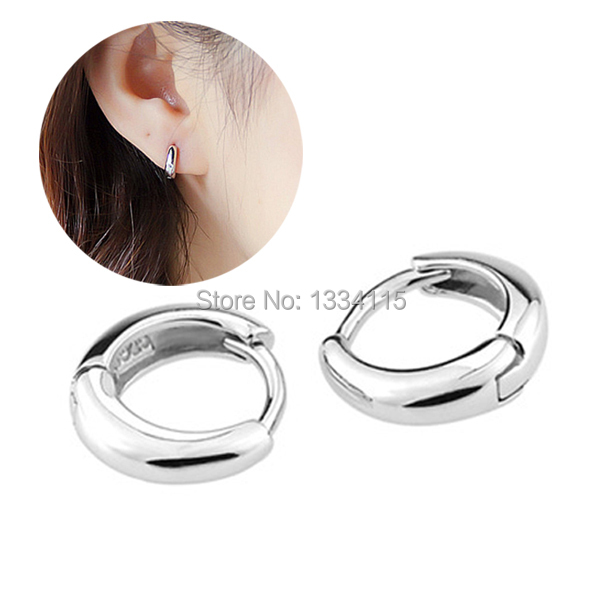 2017 New 925 Sterling Silver Jewelry Uni Hoop Earrings Huggie For Men Women Gift Korean Style Fashion Brinco In From
