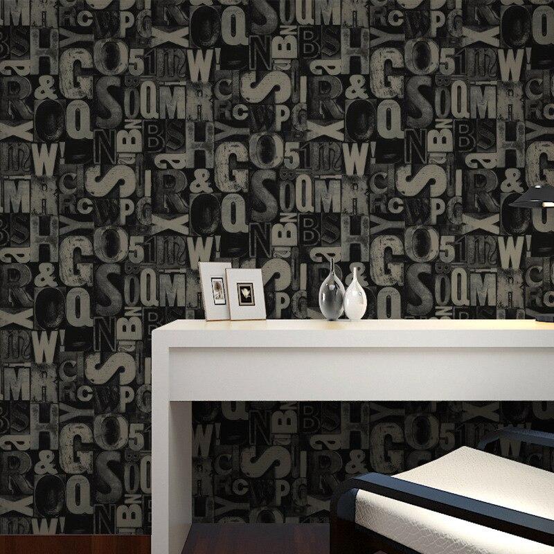 Beibehang 3D personnalisé élégant PVC alphabet papier peint décoration de la maison pleine boutique KTV en vedette graffiti mural papel de parede