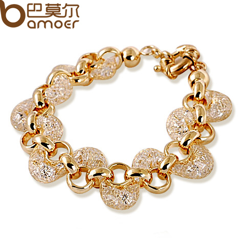 Luxury Champagne Gold Chain Bracelet Wire Zircon Crystal Women Fashion BAMOER Jewelry JSB005