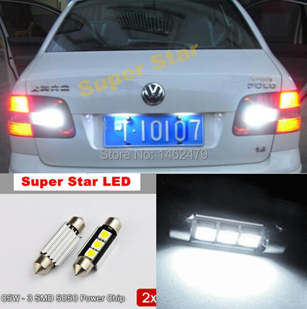 2 x 36mm No Error License Number Plate Light LED Bulbs C5W For Volkswagen VW Golf 4 5 Passat 3B 3BG 3C CC Polo 9N T5 Eos