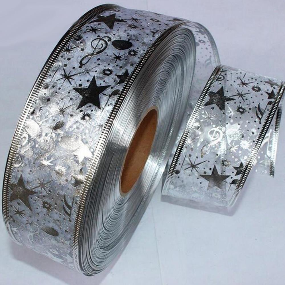 2 ярд Bling Star лента из органзы с рисунком для DIY Рождество Новый год для упаковки подарков Вышивание Craft