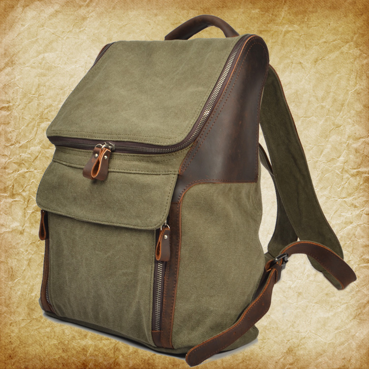 ФОТО EUROPEAN AND AMERICAN VINTAGE BAG MEN AND WOMEN GENUINE LEATHER SHOULDER BAG CANVAS CASUAL BACKPACK