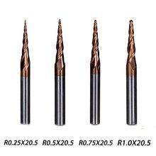 4 шт./лот, 4 модели, карбид, коническая Концевая фреза, сферическая флейта длиной 20,5 мм, диаметр 4 мм, серия HRC55