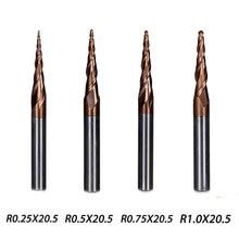 4 Pz/lotto 4 Modelli In Metallo Duro Mulino A Sfere Estremità Rastremata Naso Flauto Lunghezza 20.5 millimetri di Diametro 4 millimetri Serie HRC55