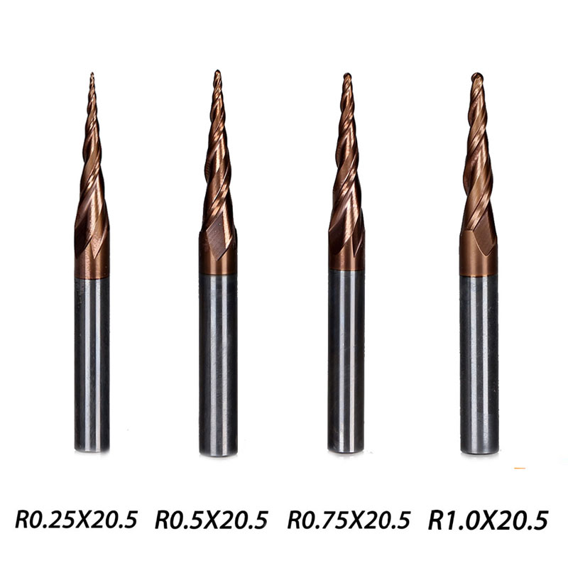 4Pcs/lot 4 Models Carbide Tapered End Mill Ball Nose Flute Length 20.5mm Dia 4mm Series HRC55
