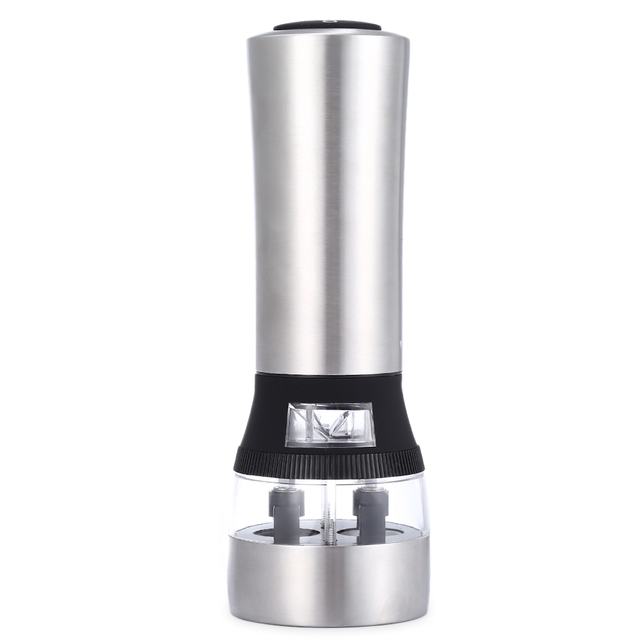 2 In 1 Electric Stainless Steel Pepper Mill Salt Spice Grinder
