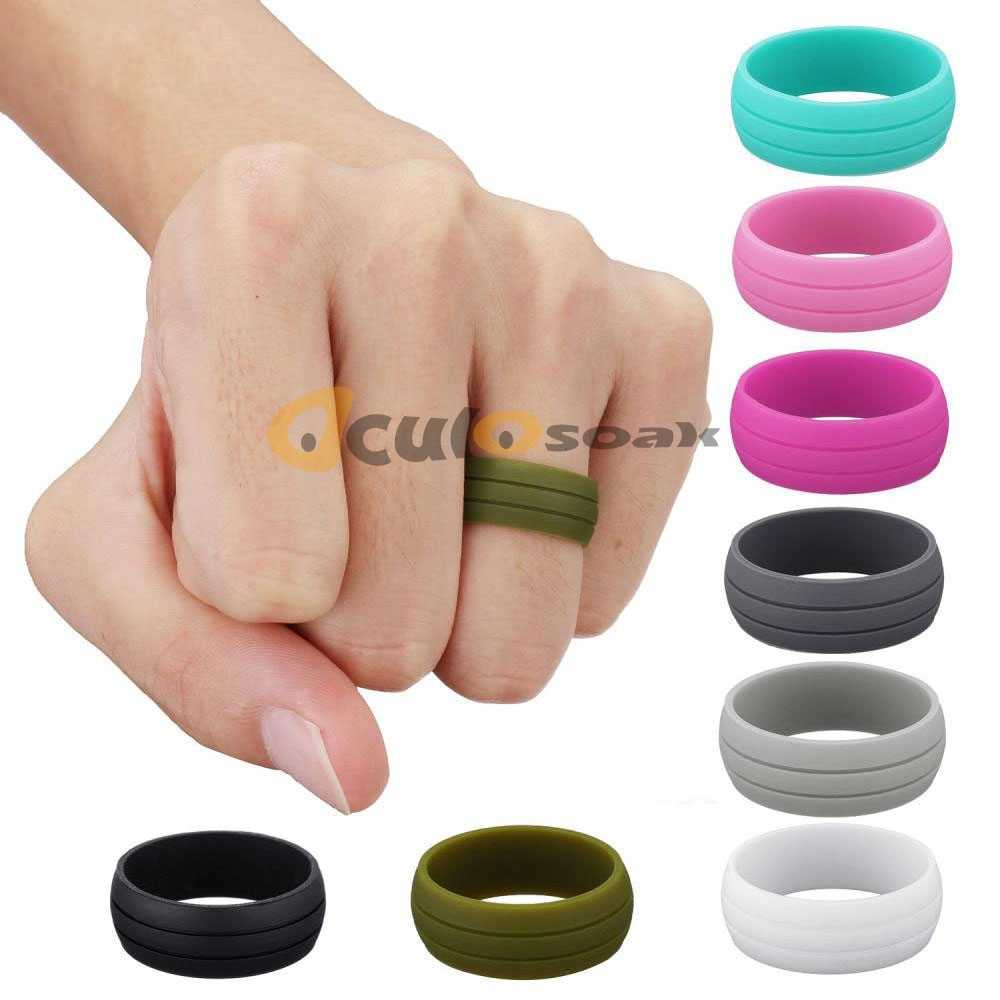 8,5 MM 100% Natural silicona anillo hipoalergénico Crossfit Flexible goma dedo anillos para Mujeres Hombres fiesta boda anillos regalo
