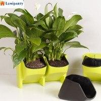 LumiParty Stackable 2 Pocket Vertical Wall Planter Self Watering Hanging Garden Flower Pot Planter For Indoor