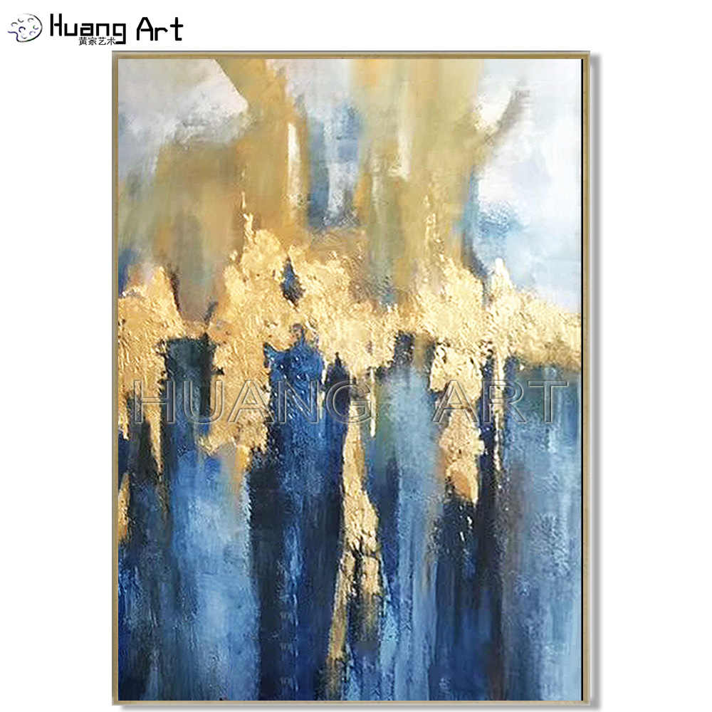 Pop Hand Painted High Quality Modern Gold And Blue Abstract