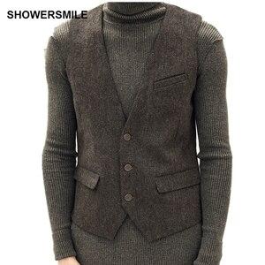 Image 5 - Showersmile ヘリンボーンストライプグレーのスーツのベストシングルブレストヴィンテージチョッキ男性イングランドスタイル秋プラスサイズジレオム