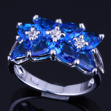 Prominent Blue Cubic Zirconia White CZ 925 Sterling Silver Ring For Women V0085