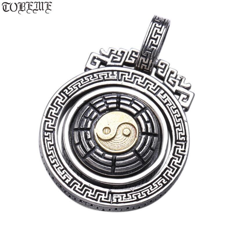 NEW 100 925 Silver Tibetan OM Mani Padme Hum Pendant vintage thai silver Fengshui Yinyang pendant