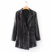 Women Black Sequin Blazer Playsuits Double Breasted Coverall Long Sleeve Shiny Jumpsuit Female Casual Romper Overalls Suit