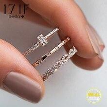 17IF 3 шт./компл. Мода в виде геометрических фигур пересекающиеся набор колец с кристаллами для Для женщин девочек Обручение женские обручальные кольца вечерние ювелирные изделия