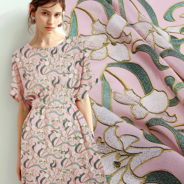 Fabric Designer 100% Natural Mulberry Silk Hard Semipermeable Grid Clothing Fabric Satin Pink Lily Dresses 1m Wg19 2019 Official Home & Garden