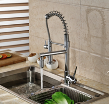 Multifunctions Two Spout Kitchen Hot Cold Water Taps Single Handle Deck Mount Kitchen Sink Faucet