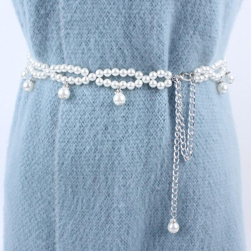 fashion long women rhinestone pearl chain   belt   metal waist   belts   for dresses laides female luxury ceinture femme