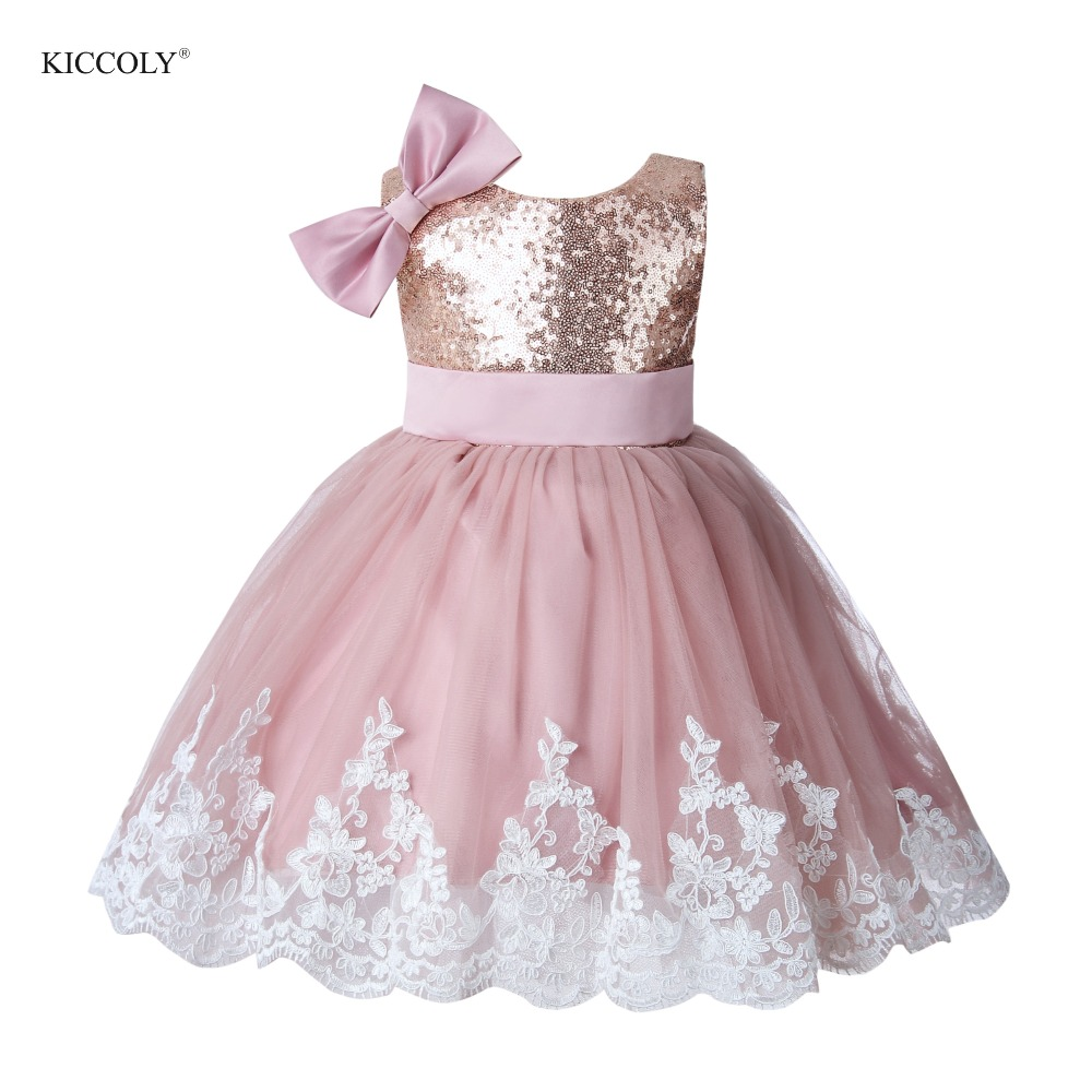 Pink Tulle Girl Summer Party Dress Pageant Gown Gold Sequin Princess Wedding Ball Gown Girls First Communion Flower Girl Dresses