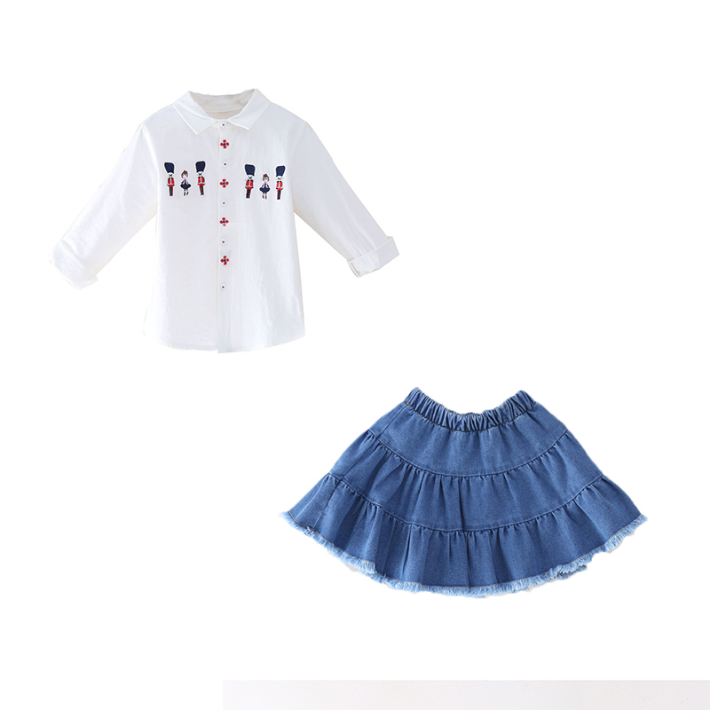 Kids Clothing Set School Girls Long Sleeve Autumn Spring 2pcs Set Girls Turn down Collar White Blouses Denim Skirt in Clothing Sets from Mother Kids
