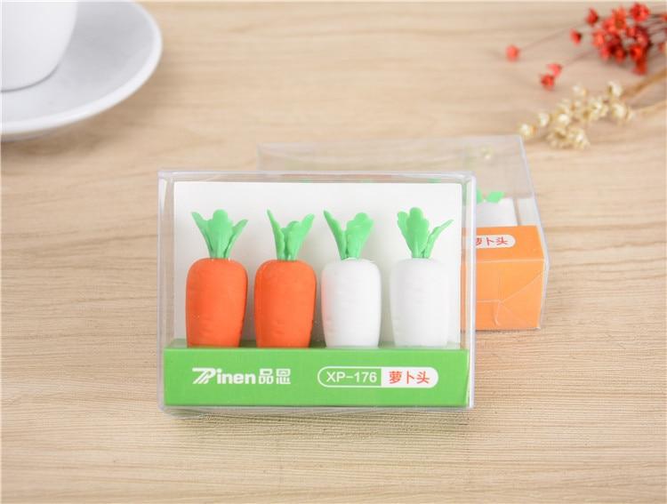 2020 New Kawaii Cute Rabbit Radish Cap Of A Pen Eraser 4PCS/Set Stationery Stationery Pencil Rubber